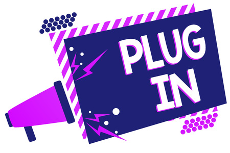 Text sign showing Plug In. Conceptual photo putting device into electricity to turn it on Power it Connecting Megaphone loudspeaker purple striped frame important message speaking loud