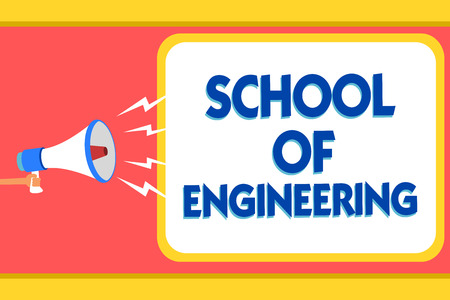 Text sign showing School Of Engineering. Conceptual photo college to study mechanical communication subjects Message warning signals sound speakers alarming capital convey reporting Фото со стока