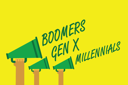 Handwriting text writing Boomers Gen X Millennials. Concept meaning generally considered to be about thirty years Hands holding megaphones loudspeakers important message yellow background
