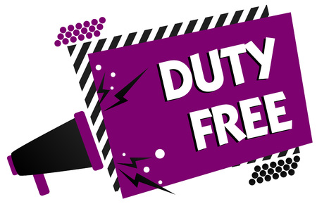 Conceptual hand writing showing Duty Free. Business photo text Store or establisbhement that sells imported products witout tax Megaphone loudspeaker loud scream idea talk frame striped speech