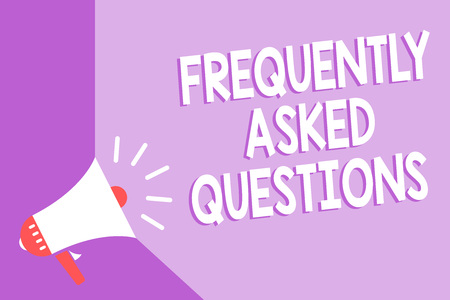 Word writing text Frequently Asked Questions. Business concept for inquries that been informed more than one time Megaphone loudspeaker purple background important message speaking loud