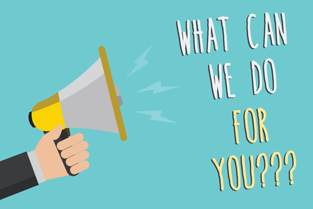 Text sign showing What Can We Do For You question question question. Conceptual photo how may I help assist Man holding megaphone loudspeaker blue background message speaking loud