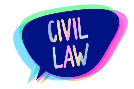 Handwriting text writing Civil Law. Concept meaning Law concerned with private relations between members of community Speech bubble idea message reminder blue shadows important intention saying Stock Photo