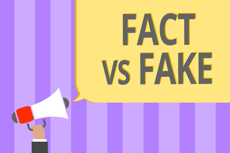 Text sign showing Fact Vs Fake. Conceptual photo Rivalry or products or information originaly made or imitation Megaphone loudspeaker loud screaming scream idea talk talking speech listen 写真素材