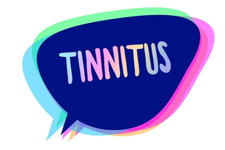 Handwriting text writing Tinnitus. Concept meaning A ringing or music and similar sensation of sound in ears Speech bubble idea message reminder blue shadows important intention saying Stock Photo
