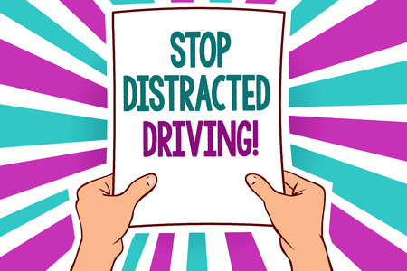 Word writing text Stop Distracted Driving. Business concept for asking to be careful behind wheel drive slowly Man holding paper important message remarkable blue purple rays bright idea Foto de archivo