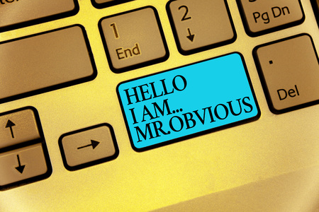 Word writing text Hello I Am.. Mr.Obvious. Business concept for introducing yourself as pouplar or famous person Keyboard blue key Intention create computer computing reflection document