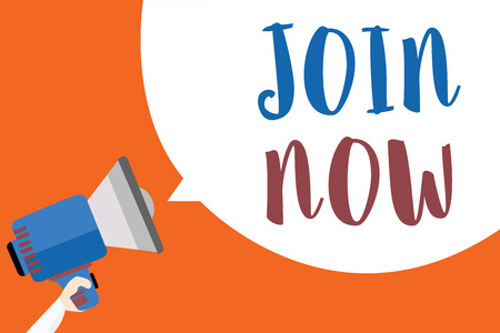 Writing note showing Join Now. Business photo showcasing An invite to a person or a friend to become a member of the group Megaphone loudspeaker loud screaming idea talk talking speech listen
