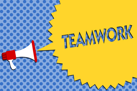 Conceptual hand writing showing Teamwork. Business photo showcasing Group of people who work together as one and with the same aim Megaphone loudspeaker loud scream idea talk halftone speech