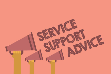 Writing note showing Service Support Advice. Business photo showcasing providing help to others in verbal or action way Hands holding megaphones loudspeaker important message pink background
