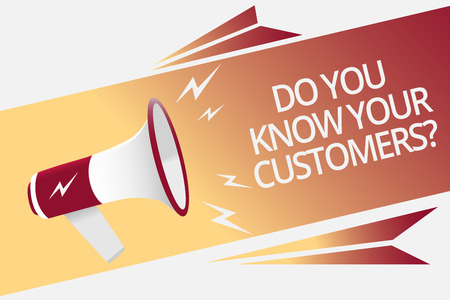 Conceptual hand writing showing Do You Know Your Customers question. Business photo text having a great background about clients Megaphone loudspeaker bubble important message speaking out loud Stock fotó