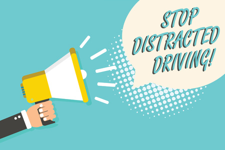 Word writing text Stop Distracted Driving. Business concept for asking to be careful behind wheel drive slowly Man holding megaphone loudspeaker speech bubble blue background halftone