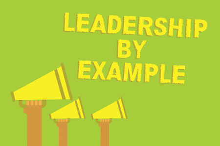 Word writing text Leadership By Example. Business concept for Becoming role model for people Have great qualities Three sound loud speaker multiple lines text message social networking