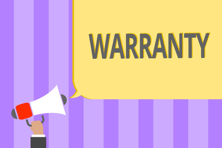 Text sign showing Warranty. Conceptual photo Free service of repair and maintenance of the product sold Megaphone loudspeaker loud screaming scream idea talk talking speech listen Stock Photo