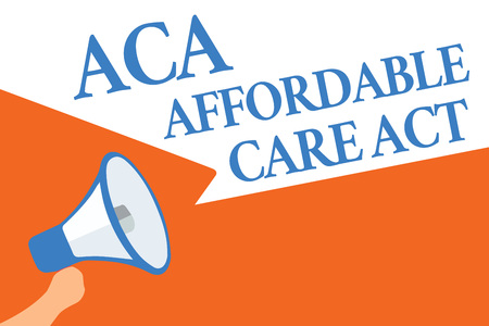 Writing note showing Aca Affordable Care Act. Business photo showcasing providing cheap treatment to patient several places Megaphone loudspeaker speech bubbles important message speaking loud