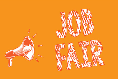 Writing note showing Job Fair. Business photo showcasing An event where a person can apply for a job in multiple companies Grunge Megaphone loudspeaker loud screaming scream talk talking speech Stockfoto