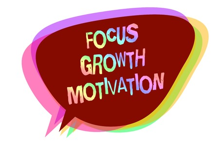 Text sign showing Focus Growth Motivation. Conceptual photo doing something with accuracy increase productivity Speech bubble idea message reminder shadows important intention saying