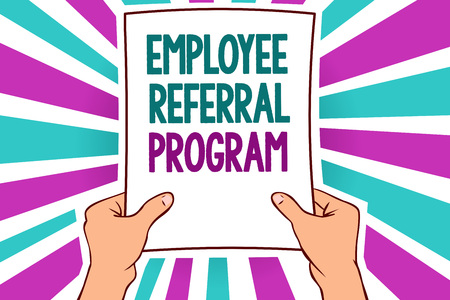 Word writing text Employee Referral Program. Business concept for employees recommend qualified friends relatives Man holding paper important message remarkable blue purple rays bright idea
