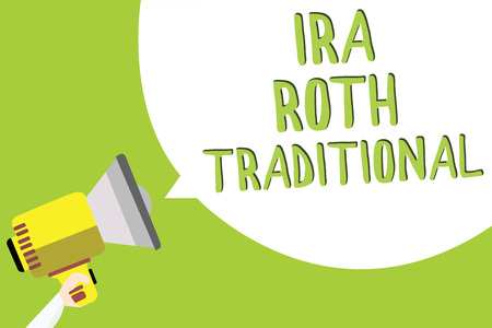 Text sign showing Ira Roth Traditional. Conceptual photo are tax deductible on both state and federal Multiline text message idea convey report sound speaker announcement Stock Photo