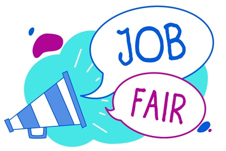 Conceptual hand writing showing Job Fair. Business photo text An event where a person can apply for a job in multiple companies Megaphone loudspeaker loud screaming idea talking speech bubbles Stock Photo