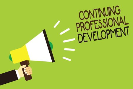 Conceptual hand writing showing Continuing Professional Development. Business photo showcasing tracking and documenting knowledge Man holding megaphone green background message speaking loud