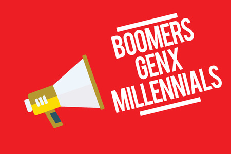 Handwriting text Boomers Gen X Millennials. Concept meaning generally considered to be about thirty years Megaphone loudspeaker red background important message speaking loud Stok Fotoğraf