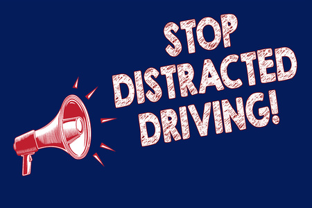 Word writing text Stop Distracted Driving. Business concept for asking to be careful behind wheel drive slowly Megaphone loudspeaker blue background important message speaking loud