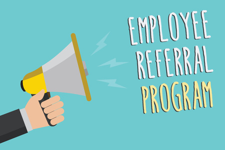 Text sign showing Employee Referral Program. Conceptual photo employees recommend qualified friends relatives Man holding megaphone loudspeaker blue background message speaking loud Stock Photo