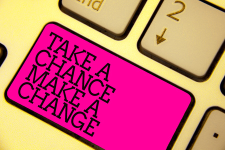 Word writing text Take A Chance Make A Change. Business concept for dont lose opportunity to reach bigger things Keyboard pink key Intention create computer computing reflection document Banco de Imagens