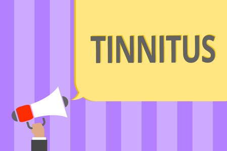 Text sign showing Tinnitus. Conceptual photo A ringing or music and similar sensation of sound in ears Megaphone loudspeaker loud screaming scream idea talk talking speech listen