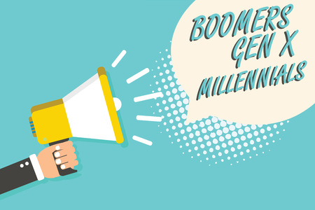 Word writing text Boomers Gen X Millennials. Business concept for generally considered to be about thirty years Man holding megaphone loudspeaker speech bubble blue background halftone Stock Photo