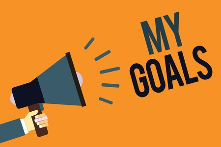 Writing note showing My Goals. Business photo showcasing Future or desired result that a person commits to achieve Megaphone loudspeaker screaming scream idea talk talking speech listen