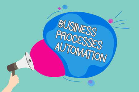 Conceptual hand writing showing Business Processes Automation. Business photo showcasing performed to achieve digital transformation Man holding Megaphone screaming talk colorful speech bubble 写真素材
