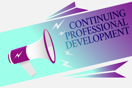 Text sign showing Continuing Professional Development. Conceptual photo tracking and documenting knowledge Megaphone loudspeaker speech bubble important message speaking out loud Stock Photo