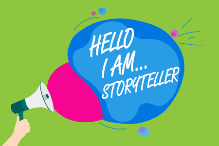 Handwriting text Hello I Am... Storyteller. Concept meaning introducing yourself as novels article writer Man holding Megaphone loudspeaker screaming talk colorful speech bubble Foto de archivo