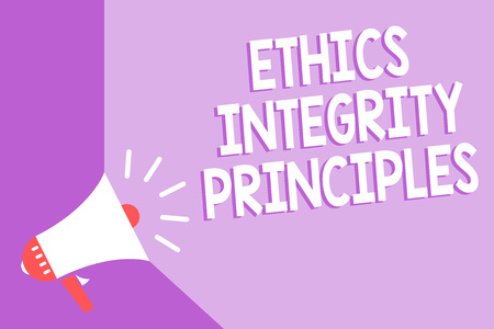 Word writing text Ethics Integrity Principles. Business concept for quality of being honest and having strong moral Megaphone loudspeaker purple background important message speaking loud