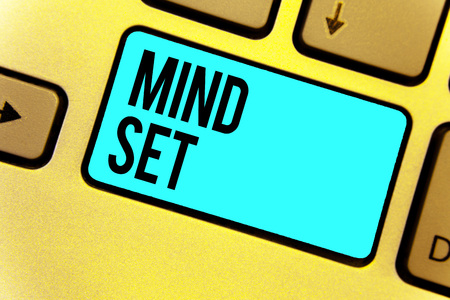 Handwriting text Mind Set. Concept meaning A standard thought of a person of what he or she will be done Keyboard blue key Intention create computer computing reflection document
