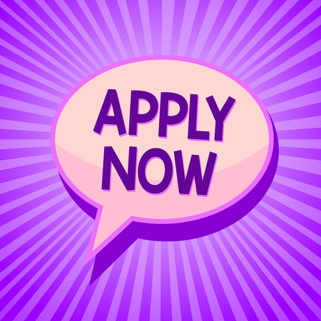 Conceptual hand writing showing Apply Now. Business photo text An act of a person to acquire the job related to the profession Speech bubble idea reminder purple shadows important intention ray