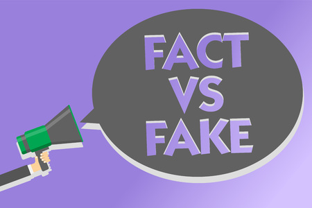 Text sign showing Fact Vs Fake. Conceptual photo Rivalry or products or information originaly made or imitation Megaphone loudspeaker loud screaming scream idea talk talking speech bubble