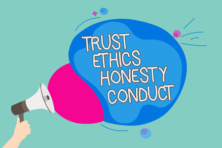 Conceptual hand writing showing Trust Ethics Honesty Conduct. Business photo showcasing connotes positive and virtuous attributes Man holding Megaphone screaming talk colorful speech bubble