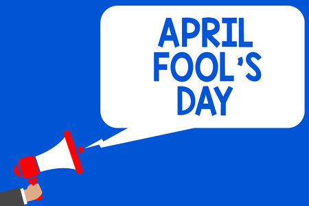Word writing text April Fool s is Day. Business concept for Practical jokes humor pranks Celebration funny foolish Multiple lines blue script message declare public speaker announcement Stock Photo