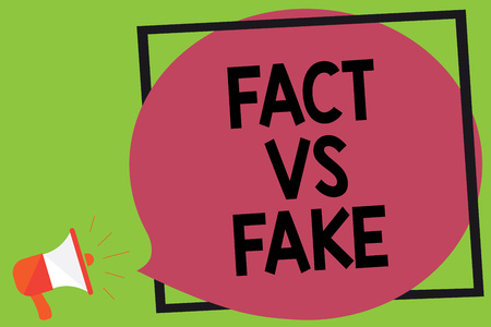 Writing note showing Fact Vs Fake. Business photo showcasing Rivalry or products or information originaly made or imitation Megaphone loudspeaker loud screaming idea talk frame speech bubble