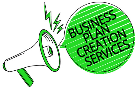 Text sign showing Business Plan Creation Services. Conceptual photo paying for professional to create strategy Megaphone loudspeaker green speech bubble stripes important loud message