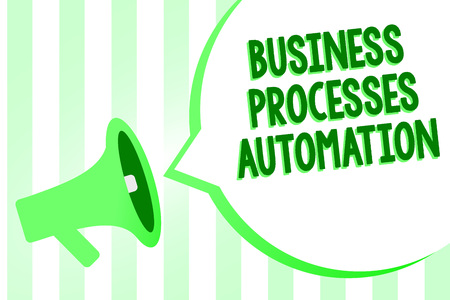Conceptual hand writing showing Business Processes Automation. Business photo text performed to achieve digital transformation Megaphone loudspeaker green stripes important loud speech bubble
