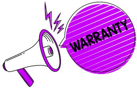 Conceptual hand writing showing Warranty. Business photo showcasing Free service of repair and maintenance of the product sold Megaphone loudspeaker scream idea talk grunge speech bubble