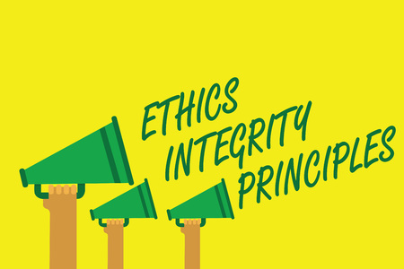 Handwriting text writing Ethics Integrity Principles. Concept meaning quality of being honest and having strong moral Hands holding megaphones loudspeakers important message yellow background 스톡 콘텐츠