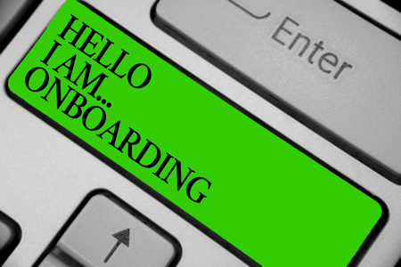 Conceptual hand writing showing Hello I Am... Onboarding. Business photo showcasing telling person that you are on ship or plane Keyboard green key computer computing reflection document