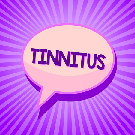 Conceptual hand writing showing Tinnitus. Business photo text A ringing or music and similar sensation of sound in ears Speech bubble idea reminder purple shadows important intention ray