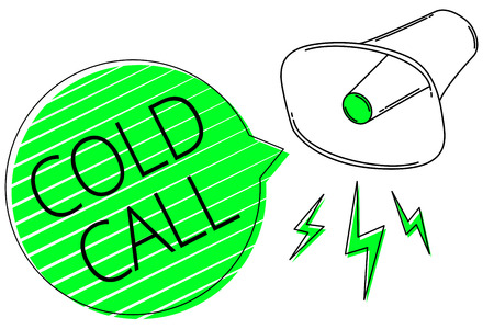 Text sign showing Cold Call. Conceptual photo Unsolicited call made by someone trying to sell goods or services Megaphone loudspeaker out loud screaming scream idea talk grunge speech Imagens