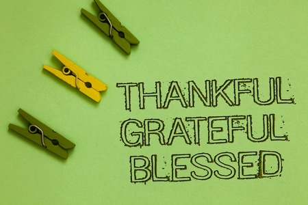 Word writing text Thankful Grateful Blessed. Business concept for Appreciation gratitude good mood attitude Outline words green middle yellow paper clip on olive color ground Stock Photo